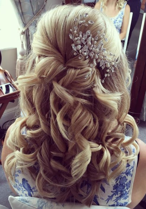 37 Half Up Half Down Wedding Hairstyles Anyone Would Love In Long Half Updo Hairstyles With Accessories (View 12 of 25)