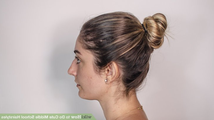 4 Ways To Do Cute Middle School Hairstyles - Wikihow intended for High Bun With Twisted Hairstyles Wrap And Graduated Side Bang