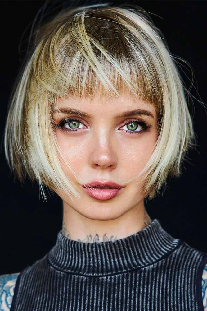40 Blonde Short Hairstyles For Round Faces | Short Hair With regarding Round Bob Hairstyles With Front Bang