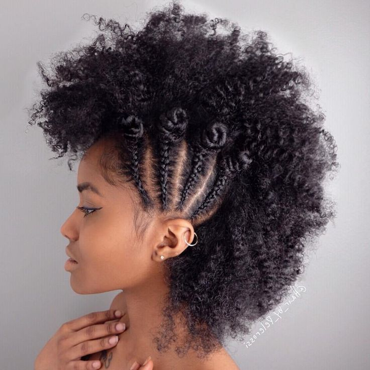 40 Creative Updos For Curly Hair In 2019   Braided Mohawk Intended For Braided Bantu Knots Mohawk Hairstyles (View 2 of 25)