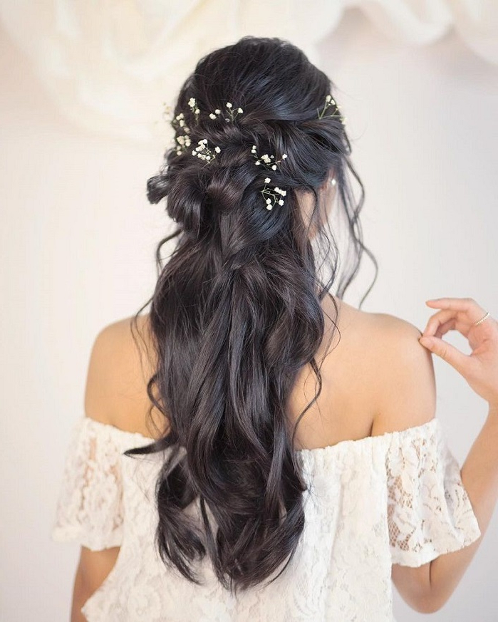 44 Gorgeous Half Up Half Down Hairstyles – Fabmood | Wedding With Regard To Long Half Updo Hairstyles With Accessories (View 24 of 25)