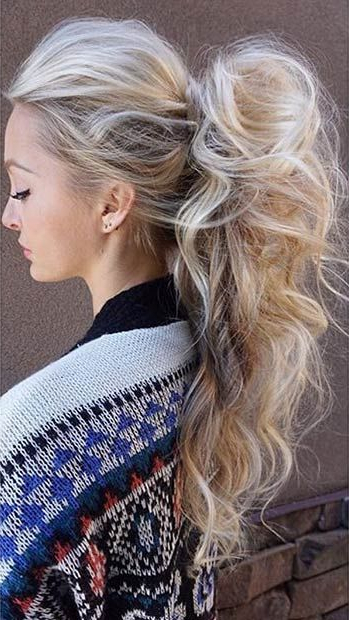 45 Elegant Ponytail Hairstyles For Special Occasions Regarding Messy Voluminous Ponytail Hairstyles With Textured Bangs (View 9 of 25)