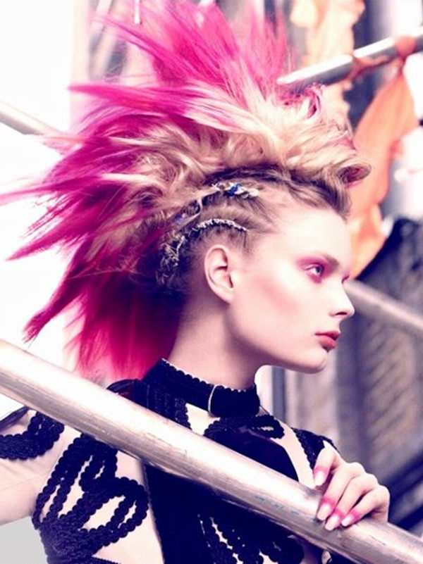45 Fantastic Braided Mohawks To Turn Heads And Rock This Season in Icy Purple Mohawk Hairstyles With Shaved Sides