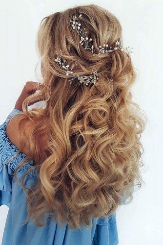 45 Half Up Half Down Wedding Hairstyles Ideas | Wedding Forward For Long Half Updo Hairstyles With Accessories (View 13 of 25)