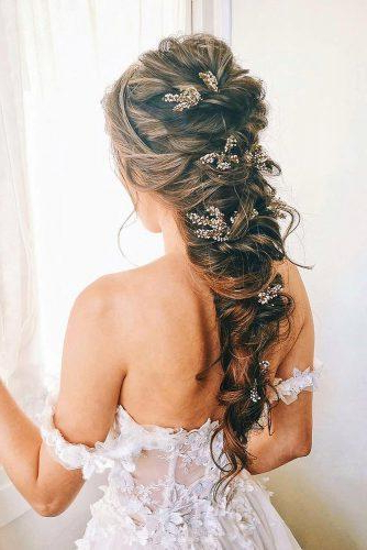 45 Half Up Half Down Wedding Hairstyles Ideas | Wedding Forward Inside Long Half Updo Hairstyles With Accessories (View 18 of 25)