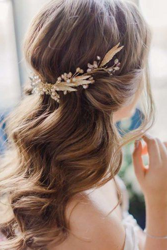 45 Half Up Half Down Wedding Hairstyles Ideas | Wedding Forward intended for Long Half-Updo Hairstyles With Accessories
