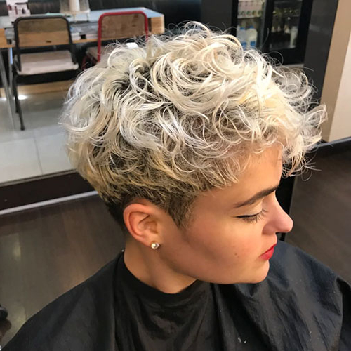 45 New Best Short Curly Hairstyles 2018 - 2019 - Short inside Blonde Pixie Haircuts With Curly Bangs
