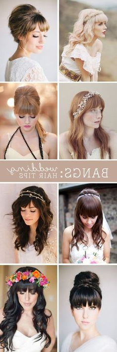 46 Best Wedding Hair Bangs Images | Long Hair Styles In Hairstyles With Fringes, End Curls And Headband (View 3 of 25)