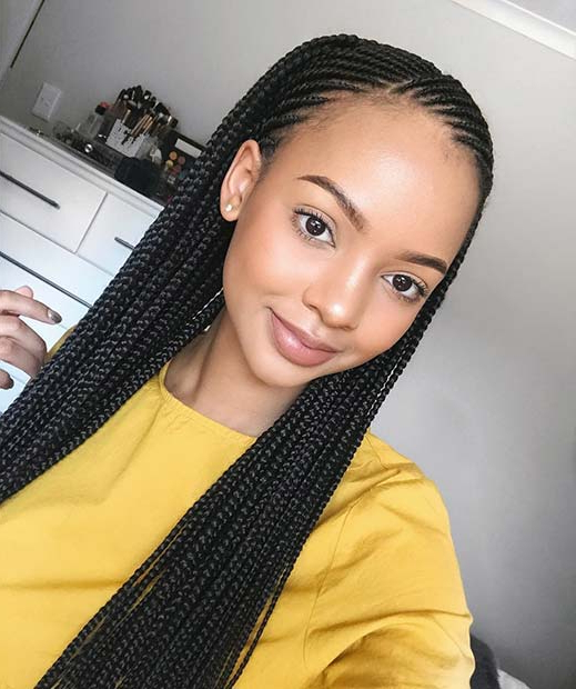 47 Of The Most Inspired Cornrow Hairstyles For 2019 pertaining to Straight Hairstyles In Side-Swept Downdo