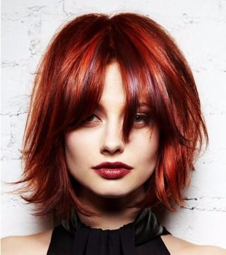47 Photos Of Red Hair – Hairstyle On Point With Layered And Outward Feathered Bob Hairstyles With Bangs (View 16 of 25)