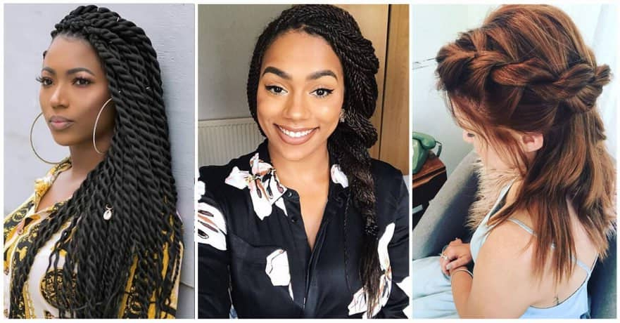 50 Beautiful Ways To Wear Twist Braids For All Hair Textures Inside Loose Waves Hairstyles With Twisted Side (View 24 of 25)
