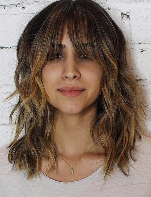 50 Best Long Hair With Bangs Looks For Women – 2019 Throughout Long Hairstyles With Straight Fringes And Wavy Ends (View 10 of 25)