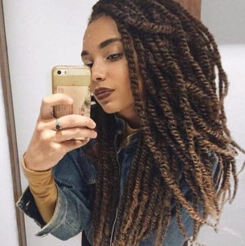 50 Cool Kinky Twist Hairstyles To Try Out! – My New Hairstyles Inside High Bun With Twisted Hairstyles Wrap And Graduated Side Bang (View 15 of 25)
