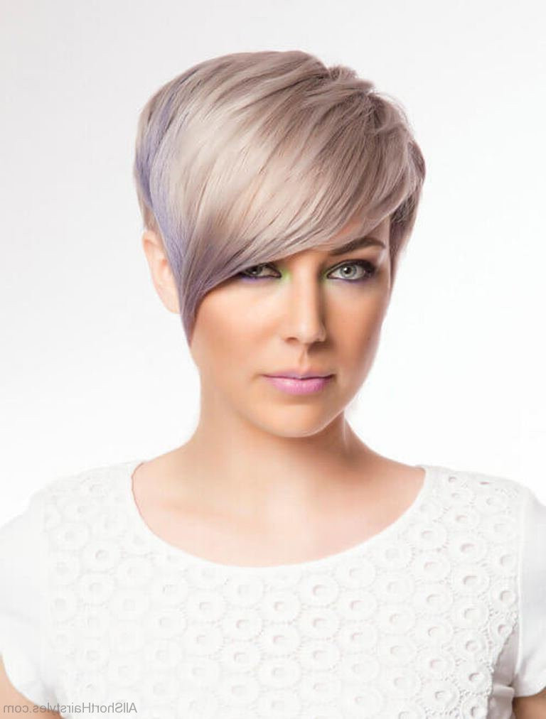 50 Excellent Undercut Short Hairstyles For Young Women Throughout Pastel Pixie Haircuts With Curly Bangs (View 7 of 25)