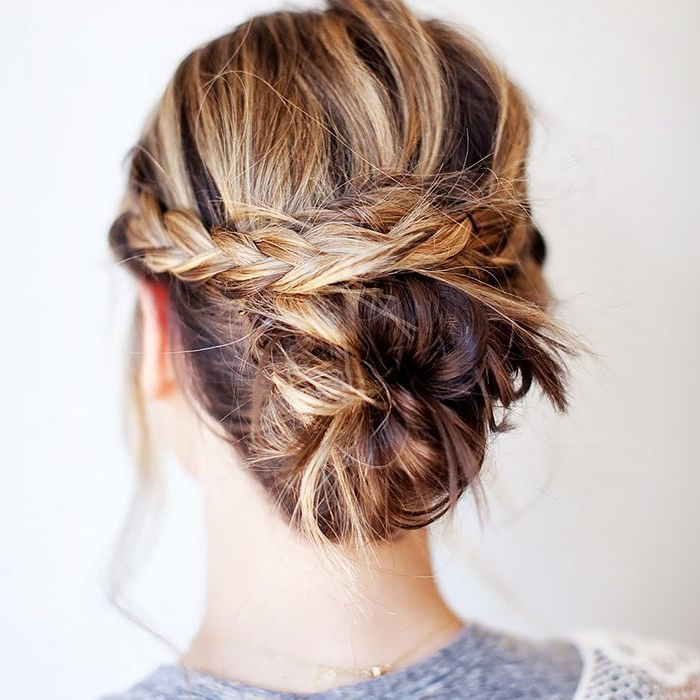 50 Incredibly Chic Updo Ideas For Short Hair Throughout Braided High Bun Hairstyles With Layered Side Bang (View 16 of 25)