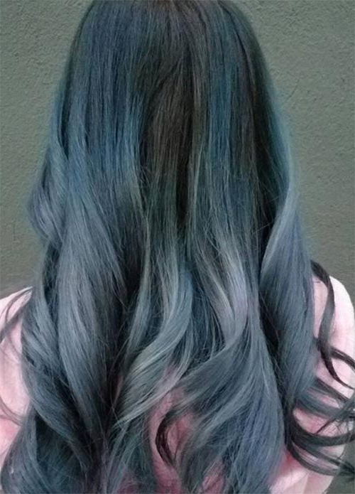 50 Magically Blue Denim Hair Colors You Will Love | Denim Inside Black And Denim Blue Waves Hairstyles (View 7 of 25)