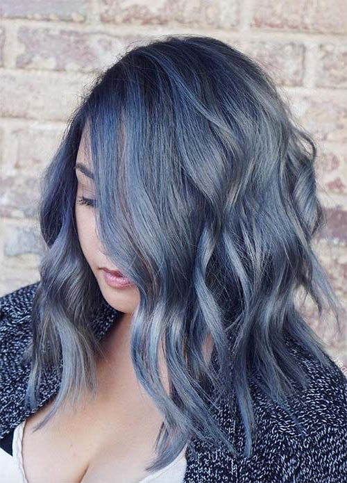 50 Magically Blue Denim Hair Colors You Will Love | Denim Intended For Black And Denim Blue Waves Hairstyles (View 3 of 25)
