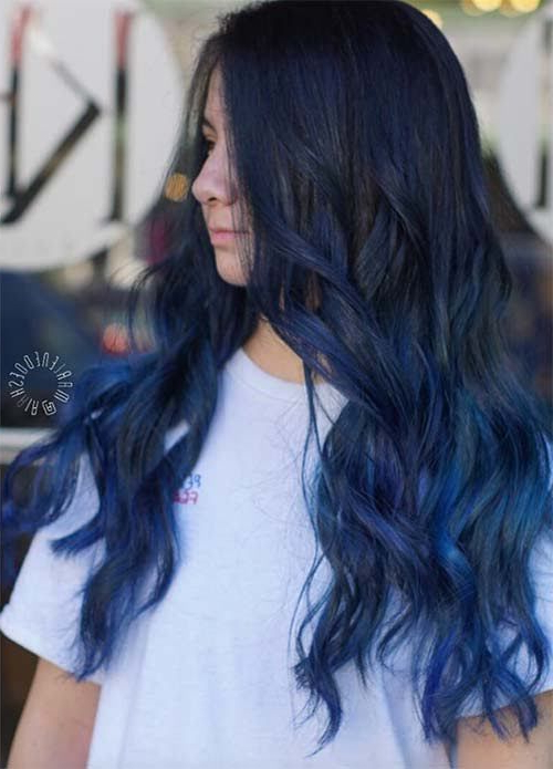 50 Magically Blue Denim Hair Colors You Will Love | Hair Regarding Black And Denim Blue Waves Hairstyles (View 5 of 25)