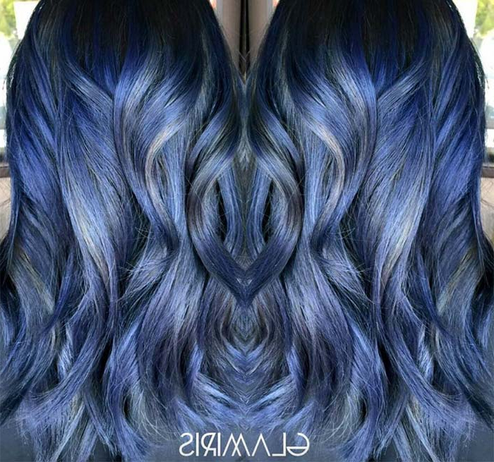 50 Magically Blue Denim Hair Colors You Will Love Intended For Black And Denim Blue Waves Hairstyles (View 23 of 25)