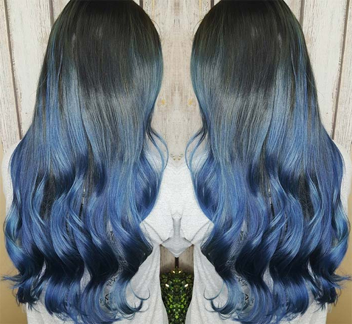 50 Magically Blue Denim Hair Colors You Will Love Regarding Black And Denim Blue Waves Hairstyles (View 18 of 25)