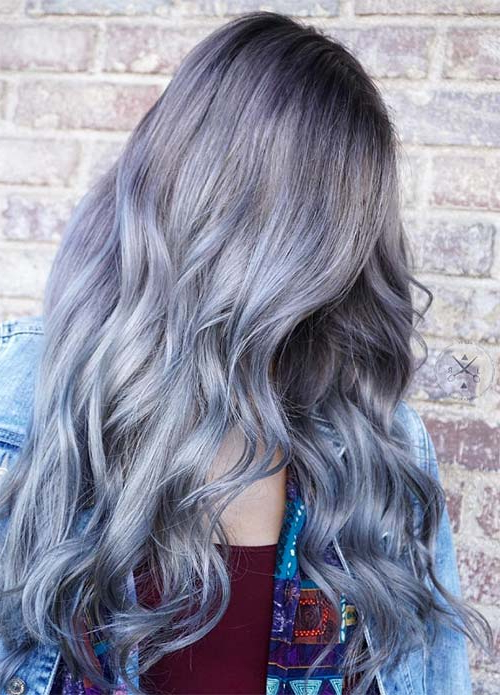 50 Magically Blue Denim Hair Colors You Will Love Regarding Black And Denim Blue Waves Hairstyles (View 17 of 25)