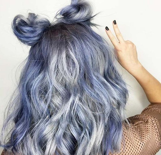 50 Magically Blue Denim Hair Colors You Will Love | Skin Regarding Black And Denim Blue Waves Hairstyles (View 22 of 25)