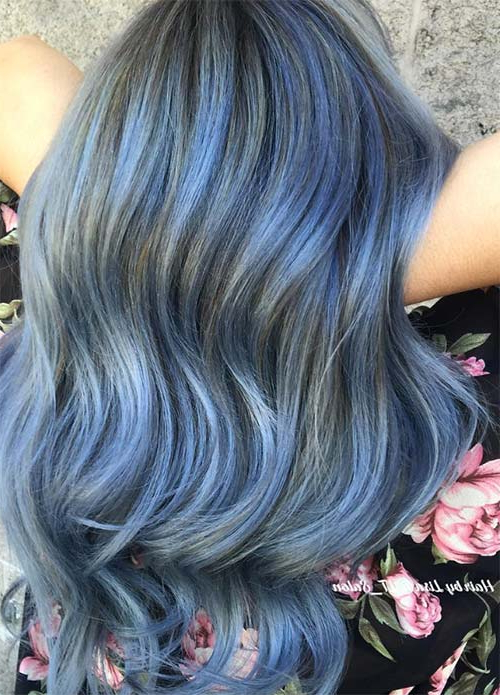50 Magically Blue Denim Hair Colors You Will Love Throughout Black And Denim Blue Waves Hairstyles (View 15 of 25)