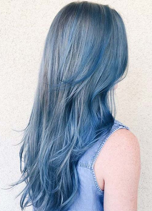 50 Magically Blue Denim Hair Colors You Will Love With Black And Denim Blue Waves Hairstyles (View 12 of 25)