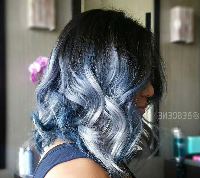 50 Magically Blue Denim Hair Colors You Will Love Within Black And Denim Blue Waves Hairstyles (View 11 of 25)