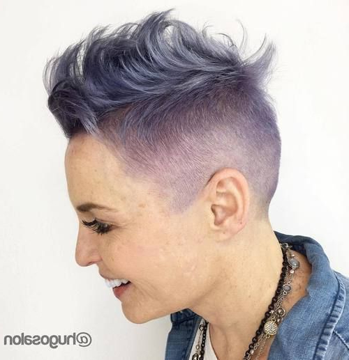 50 Modern Haircuts For Women Over 50 With Extra Zing | Short Within Icy Purple Mohawk Hairstyles With Shaved Sides (View 11 of 25)