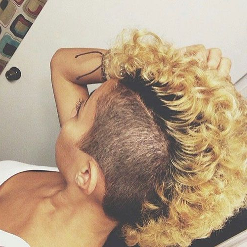 50 Mohawk Hairstyles For Black Women | Hair Styles, Mohawk Throughout Medium Length Blonde Mohawk Hairstyles (View 3 of 25)