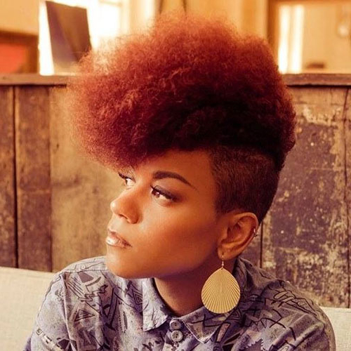 50 Mohawk Hairstyles For Black Women | Stayglam With Regard To Black & Red Curls Mohawk Hairstyles (View 5 of 25)