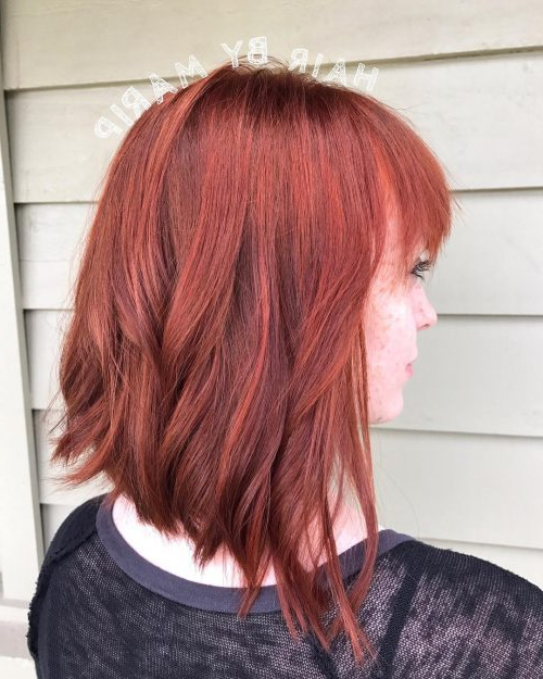 53 Popular Medium Length Hairstyles With Bangs In 2019 Within Medium Length Red Hairstyles With Fringes (View 13 of 25)