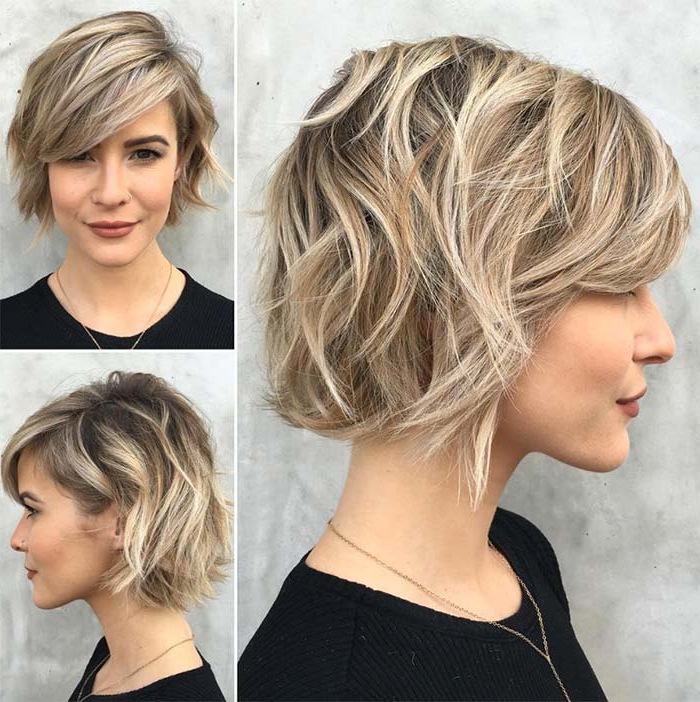 55 Incredible Short Bob Hairstyles & Haircuts With Bangs Inside Messy Short Bob Hairstyles With Side Swept Fringes (View 5 of 25)