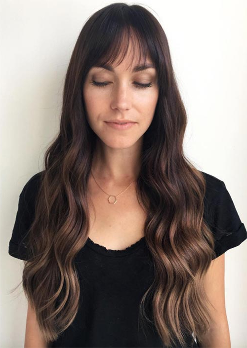 55 Long Haircuts With Bangs For 2019: Tips For Wearing Throughout Long Hairstyles With Straight Fringes And Wavy Ends (View 12 of 25)