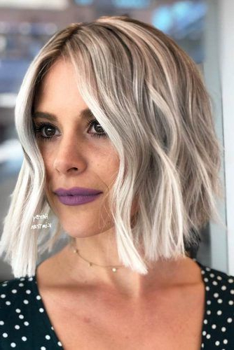 55 Versatile Medium Bob Haircuts To Try   Lovehairstyles Throughout Blunt Wavy Bob Hairstyles With Center Part (View 8 of 25)