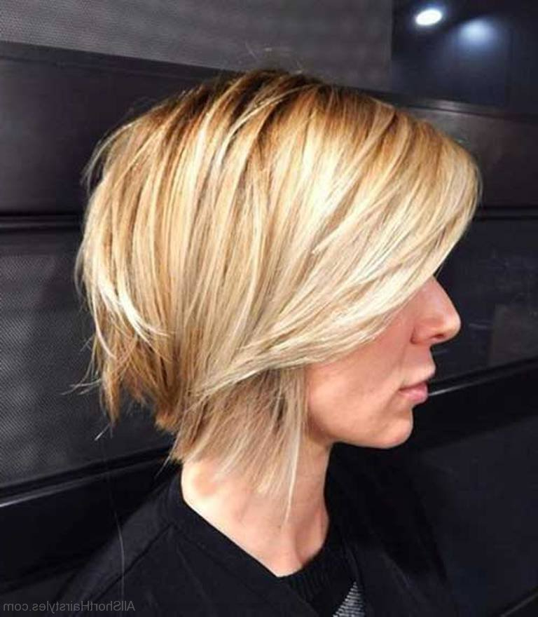 57 Cool Short Bob Hairstyle With Side Swept Bands Within Blonde Bob Haircuts With Side Bangs (View 13 of 25)