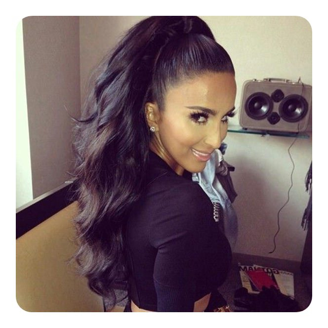 59 Timeless Weave Ponytail Hairstyles For Women Within High Long Ponytail Hairstyles With Hair Wrap (View 17 of 25)