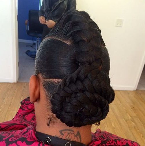 60 Inspiring Examples Of Goddess Braids | Big Braid Styles Intended For Braided Mohawk Bun Hairstyles (View 23 of 25)