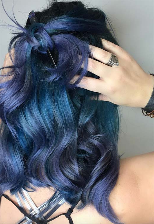 65 Iridescent Blue Hair Color Shades & Blue Hair Dye Tips For Black And Denim Blue Waves Hairstyles (View 13 of 25)