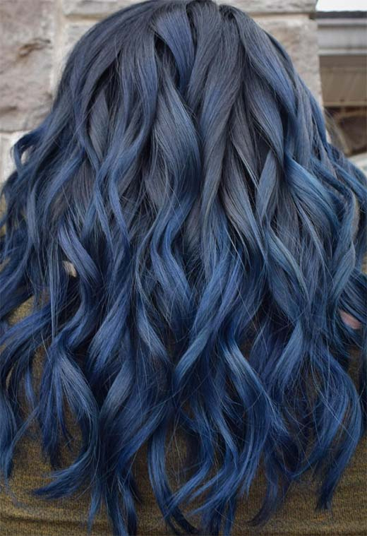 65 Iridescent Blue Hair Color Shades & Blue Hair Dye Tips In Black And Denim Blue Waves Hairstyles (View 19 of 25)