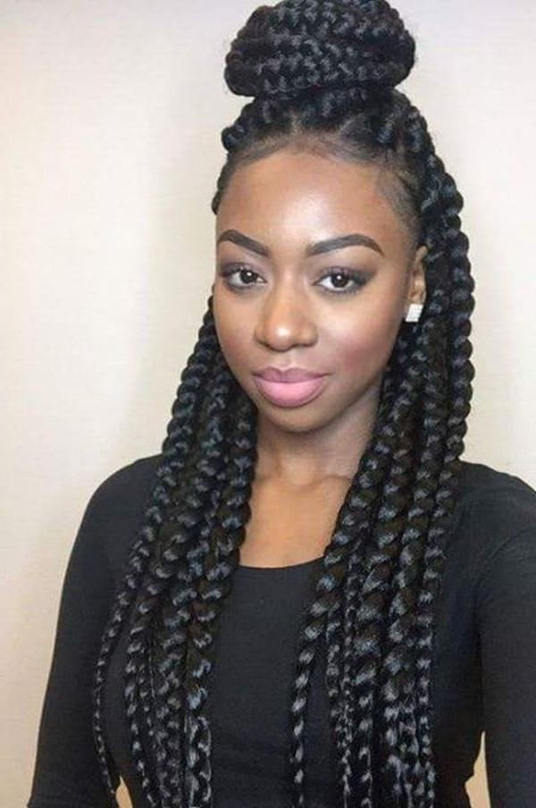66 Of The Best Looking Black Braided Hairstyles For 2019 With Turned And Twisted Pigtails Hairstyles With Front Fringes (View 23 of 25)