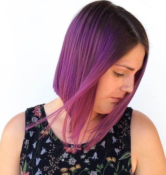7 Superb Purple Ombre Hairstyle For Short Haired Divas intended for Ravishing Smoky Purple Ombre Hairstyles