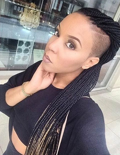 70 Box Braids Hairstyles That Turn Heads | Shaved Side for Box Braids Mohawk Hairstyles