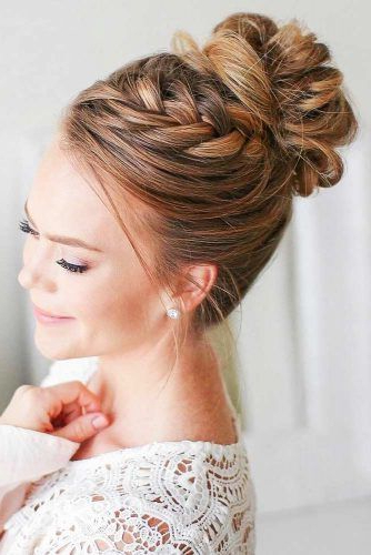 70+ Fun And Easy Updos For Long Hair | Lovehairstyles For Braided High Bun Hairstyles With Layered Side Bang (View 11 of 25)