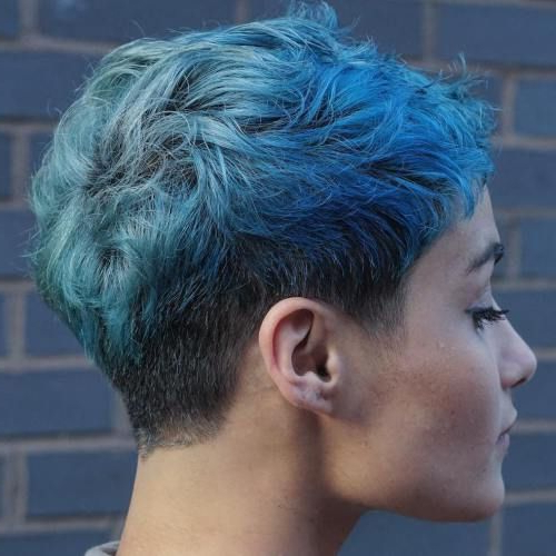 70 Overwhelming Ideas For Short Choppy Haircuts | Locks In Pastel Pixie Haircuts With Curly Bangs (View 15 of 25)