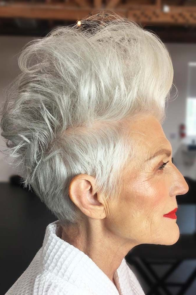 70 Stylish Short Hairstyles For Women Over 50   Short Grey for Classy Faux Mohawk Haircuts For Women
