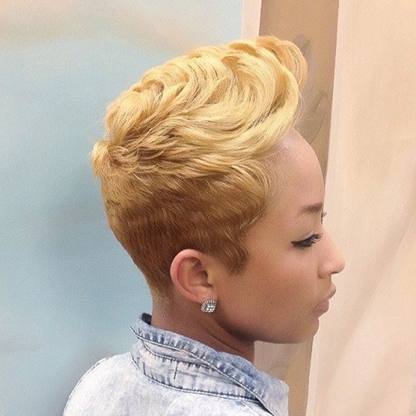 80 Amazing Short Hairstyles For Black Women – Bun & Braids In Blonde Curly Mohawk Hairstyles For Women (View 22 of 27)