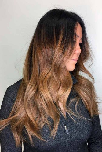 80+ Sexy Light Brown Hair Color Ideas   Lovehairstyles for Black To Light Brown Ombre Waves Hairstyles