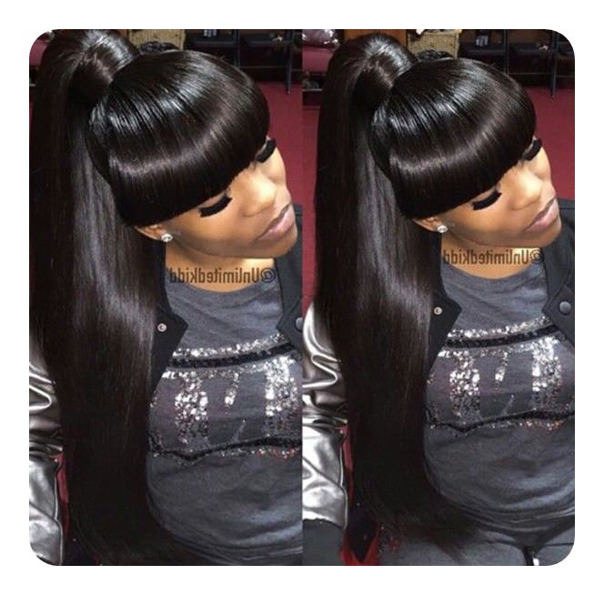 97 Amazing Ponytail With Bangs Hairstyles Inside Tight High Ponytail Hairstyles With Fringes (View 24 of 25)